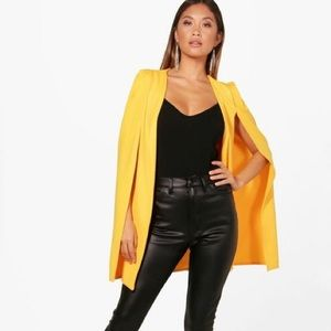 NWT boohoo yellow cape blazer